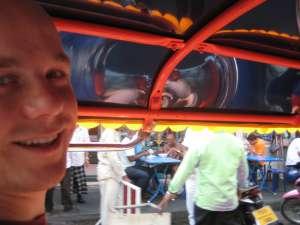 Rob inside tuk tuk in Bangkok, Thailand