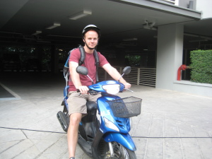 Rob on the motorbike in Chiang Mai, Thailand
