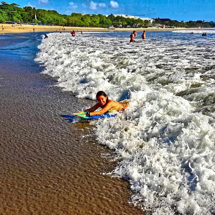 Best Bali Beaches - Boogie Boarding in Kuta Beach