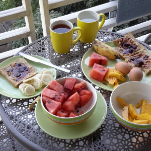 Typical breakfast at home in Chiang Mai, Thailand