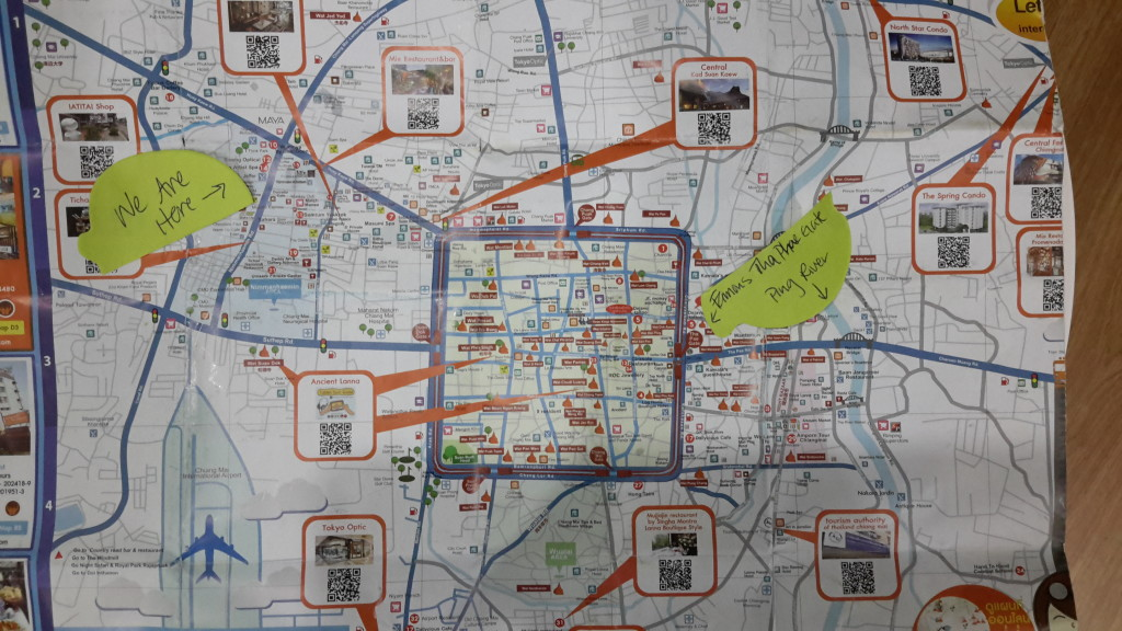 Map of Chiang Mai, Thailand-Old City inside the square