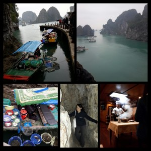 Ha Long Bay-Floating Market, caves and cooking on board Paloma