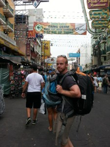 Walking on Khoa San Road in Bangkok Thailand