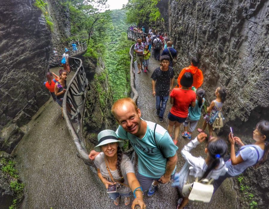 cliff-hanging pathways at Tianmen Mountain, Zhangjiajie, China