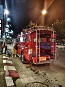 Songthaew or Red Truck in Chiang Mai, Thailand