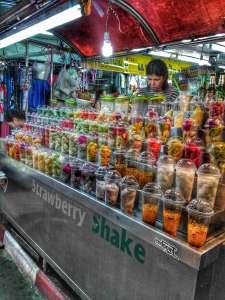 Fresh Fruit Shakes at Night Bazaar In Chiang Mai, Thailand