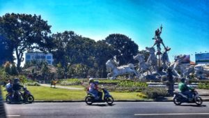 Bali, Indonesia - street and motorbikes