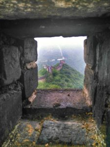view of Mutianyu Great Wall, China, from Watchtower Window