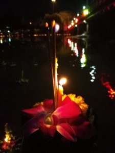 floating krathong under Nawarat Bridge, Chiang Mai - Yee Peng Lantern Festival
