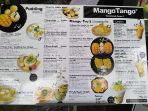 mango tango menu - best dessert in Chiang Mai, Thailand