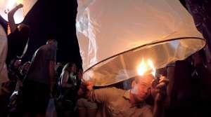 lantern lighting - YLantern Festival, Yee Peng - Chiang Mai, Thailand
