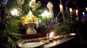 Yee Peng and Loy Krathong Festival at Wat in Chiang Mai, Thailand