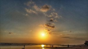 photos of amazing beach sunset - Seminyak, Bali, Indonesia
