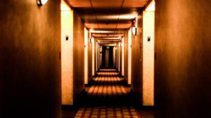 hotel hallway- security tips for hotel guests