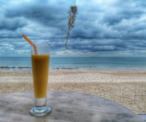 smoothie on the beach in Koh Lanta, Thailand