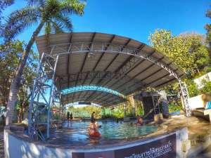 Pool at San Kamphaeng hot springs near Chiang Mai, Thailand