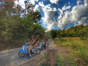 riding a motorbike around Pai, Thailand