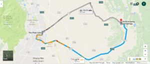 Image of directions to San Kampaeng Hot Springs from Tha Pae Gate - Map