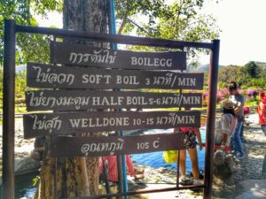 San Kamphaeng egg sign - hot springs near Chiang Mai, Thailand