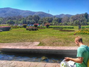 San Kamphaeng Hot Springs, Chiang Mai - sitting by channel of mineral water