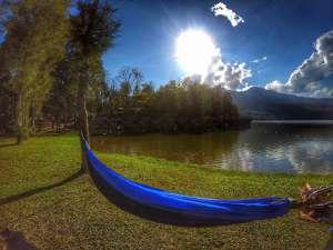 hammock at Huay Tung Tao Lake - picnic in Chiang Mai, Thailand