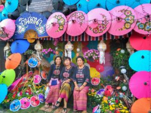 decorated areas for photos at Umbrella Festival in Chiang Mai, Thailand