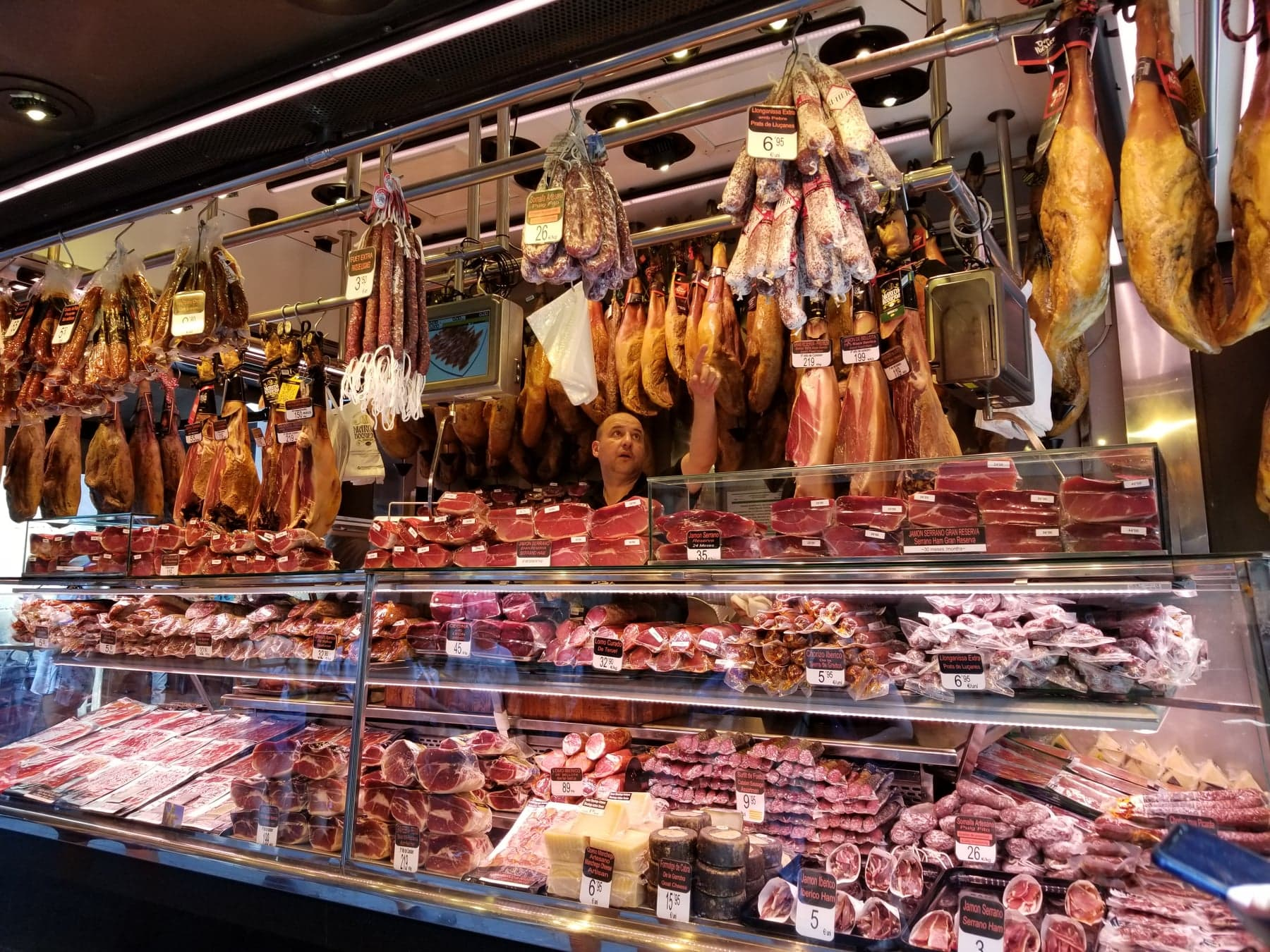 first time in Barcelona - La boqueria jamon