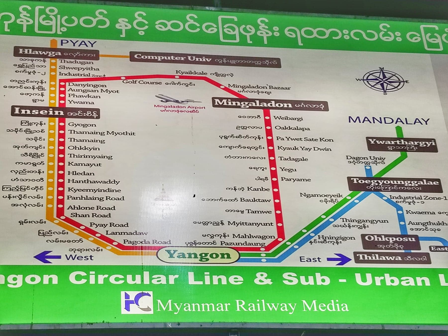 What to do in Yangon - circular train map