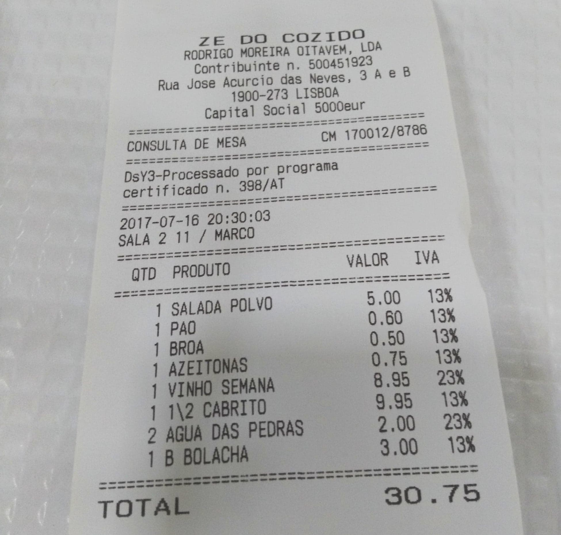 Lisbon Cost of Living -restaurant receipt